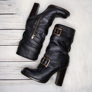 TORY BURCH BLACK JADEN MID CALF LEATHER MOTO BOOTS